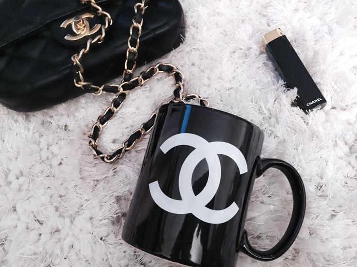 Black Mug with White Chanel Logo