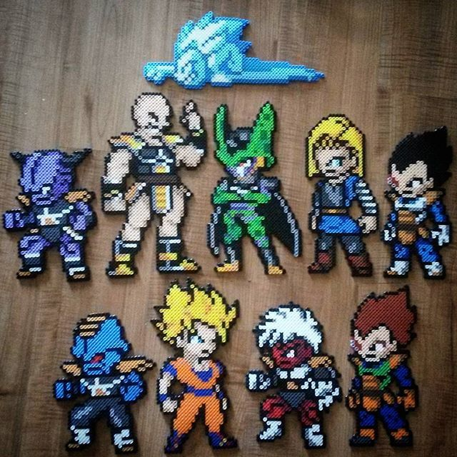 Dragon Ball characters perler beads by tarawashere88