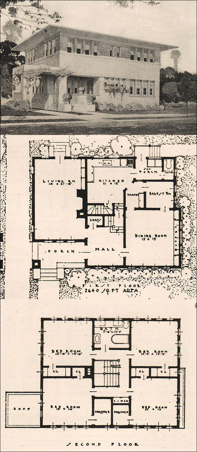 Blueprints For A Modern Four Bedroom Home: 1916 Garden City Plans - Design 22