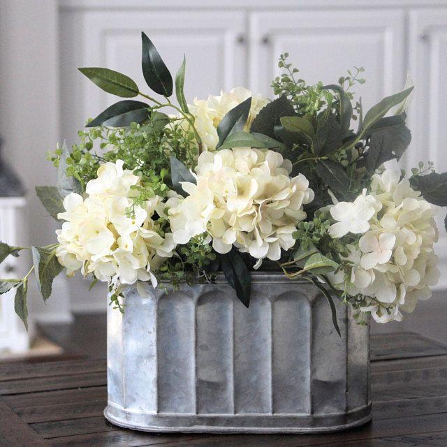 Farmhouse Floral Arrangement~Rustic Centerpiece~Mixture Of