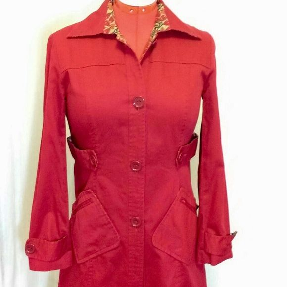Fitted Red Trench Coat by Bandolino Fitted trench coat in deep red, large buttons, 100% Cotton. Gently used but in great condition. Smoke free home. Size S. Bandolino Jackets & Coats Trench Coats