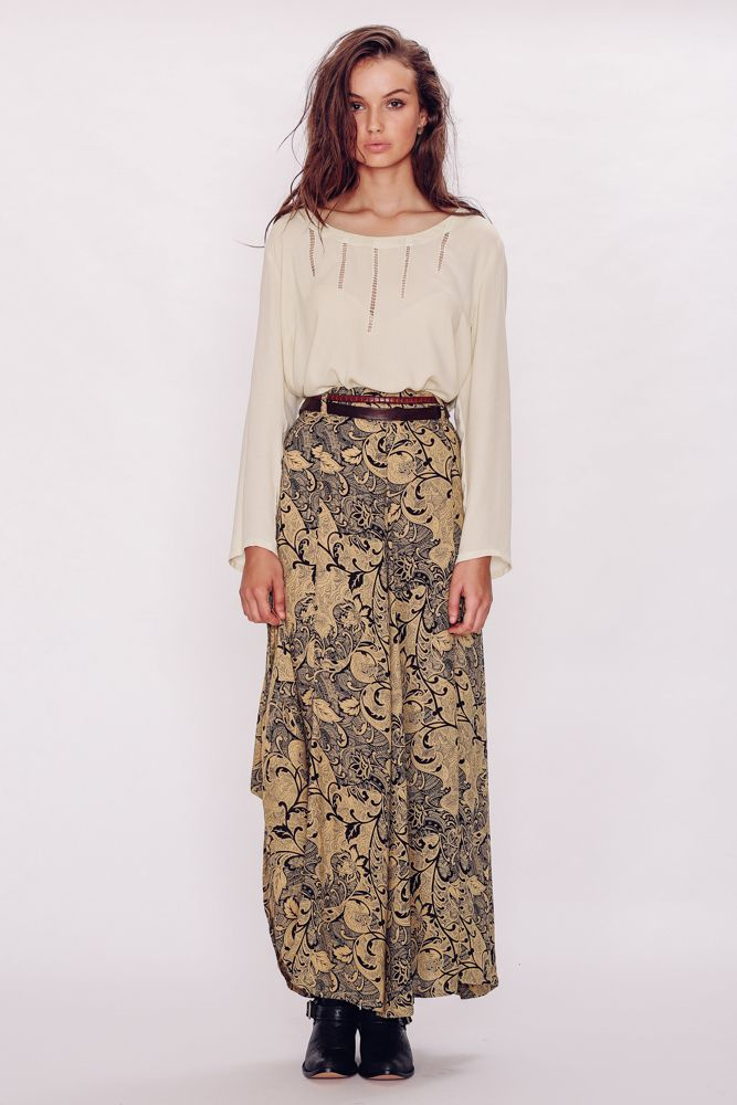 Stunning high waisted panelled skirt with belt loops and elastic waist at the back in our Paisley print in Mustard.Worn with Sienna IvoryModel is a size 8, 170cm tall