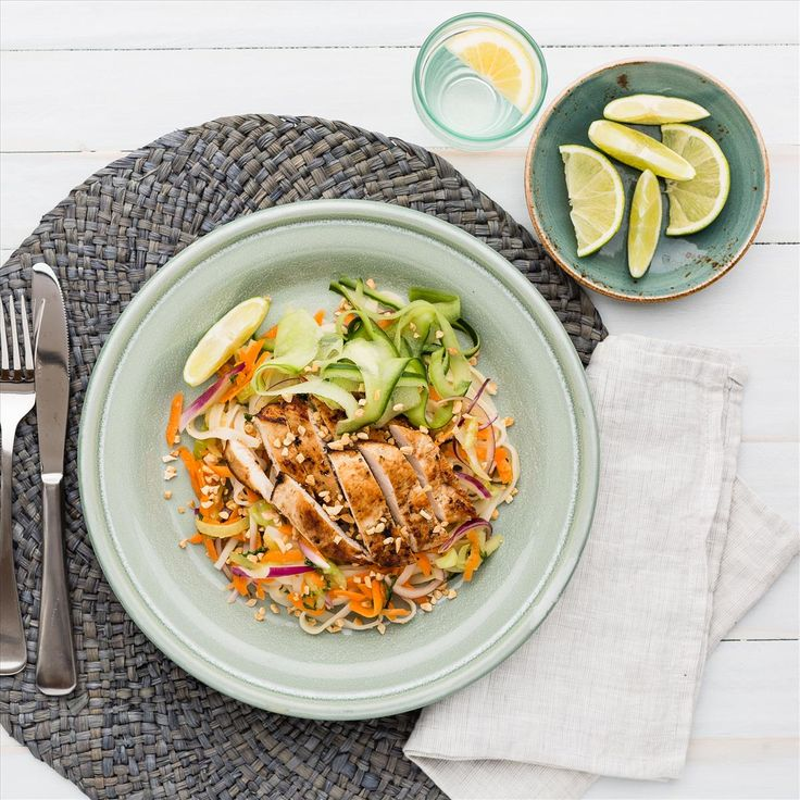 Spiced Chicken Breast with Thai Rice Noodle Salad