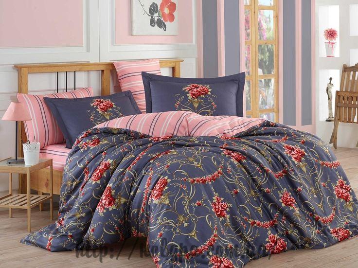 Комплект постельного белья Sateen Exclusive Ornella красный Евро Hobby (Турция) сатин - 100% хлопок