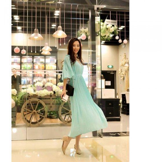 Корейский моды женщин дамы шифоновое платье макси лук открытого плеча выреза бабочка рукав Плиссированные длинное платье цельный