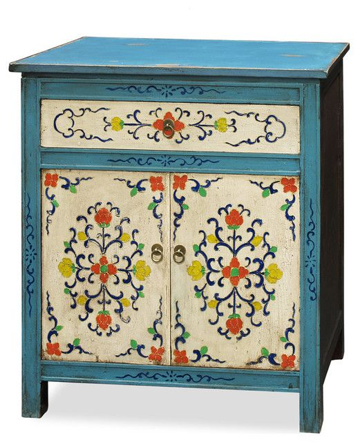 Bring The Asian Touch with Asian Bedroom Furniture: Gorgeous Blue Asian Bedroom Furniture Called Admirable Hand Painted Tibetan Cabinet Asian Furniture With Beautiful Floral Pattern Cabinet Door
