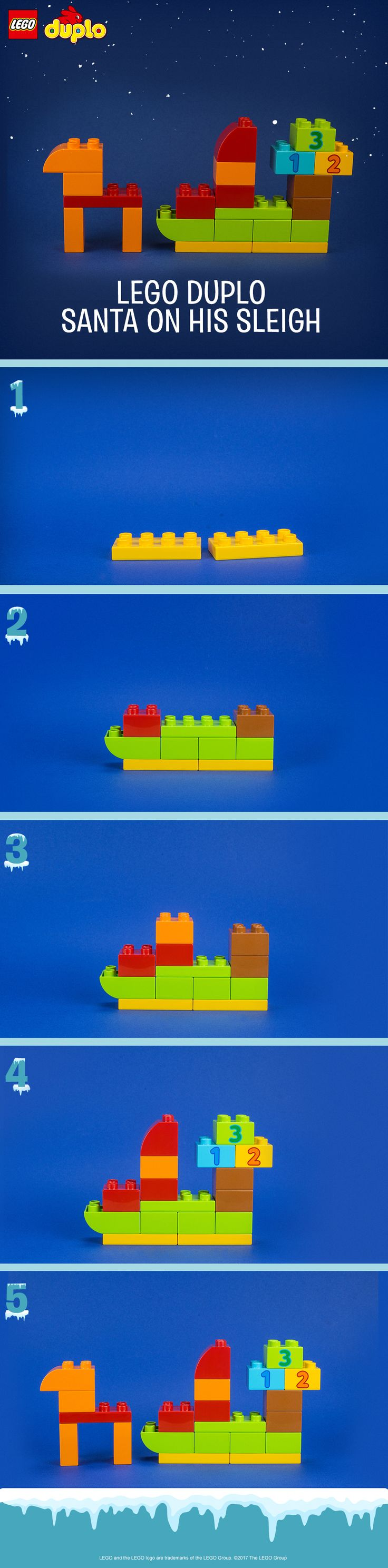 This seasonal LEGO DUPLO build is a great no-prep activity for your toddler during the holidays. Use colorful bricks to create this fun festive scene together, then use it as an opportunity to explore roleplay. Build Santa and his reindeer on his sleigh full of presents, ready to deliver them to children around the world. You can make this and many more holiday builds with the LEGO DUPLO All-in-One-Box-of-Fun. Click to buy.