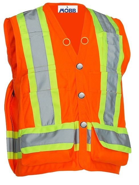 WORK WEAR SAFETY VEST :  This durable vest provides the high visibility and utility that a busy surveyor will need to get the job done right. Fluorescent polyester makes you visible on site, while 9 pockets, a large back zip pocket, and a surveyor tape dispenser pocket allow you to carry a wide range of tools.