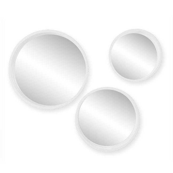 """Holly & Martin Daws Wall Mirror 3pc Set - White. Includes 3 round mirrors in varying sizes. White finish; Modern, geometric wall accents. Overall: 15"""" DIA x 2"""" D (lg), 12.25"""" DIA x 2"""" D (med), 10"""" DIA x 2"""" D (sm); Mirrors: 14"""" DIA (lg), 11.25"""" DIA (med), 9"""" DIA (sm). Materials: MDF, plywood, 3mm mirror; Approx. weight: 10.5 lb. Each mirror includes 1 keyhole for easy installation; Assembly: No assembly required; ready to hang."""