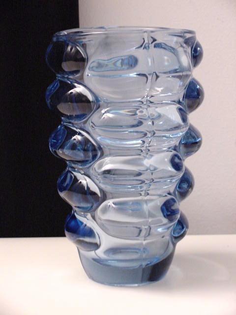 blue lobbed crystal glass vase art