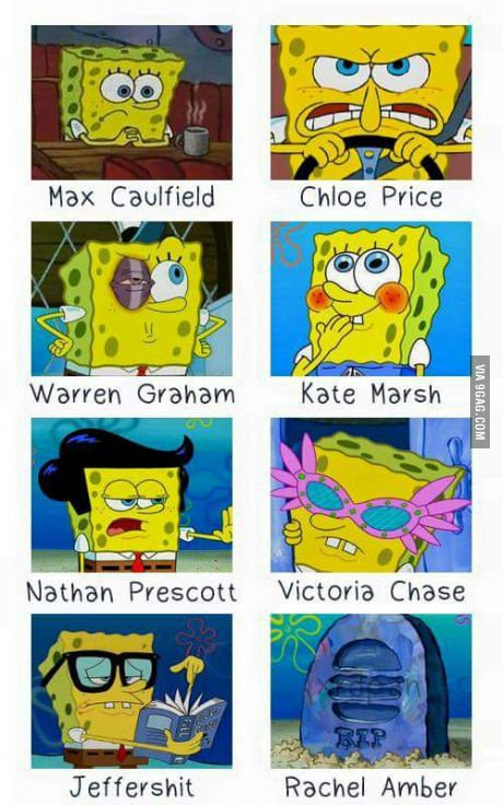 The many characters of Life Is Strange as explained by Sponge Bob