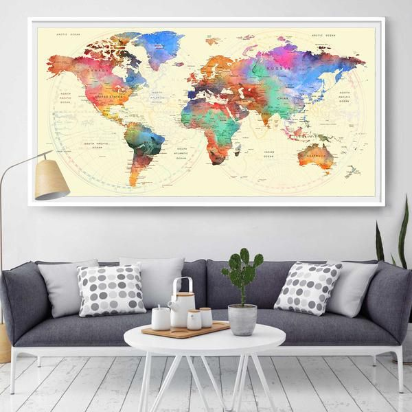 44 best extra large world map images on pinterest extra large map push pin world travel art printworld map watercolor wall decor home office travel world map gumiabroncs Gallery