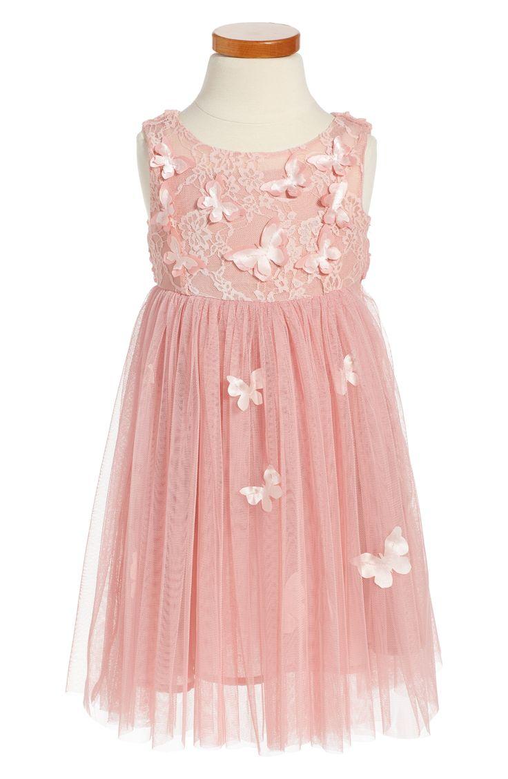 Pink Flower Girl Dress - Butterfly Sleeveless Dress