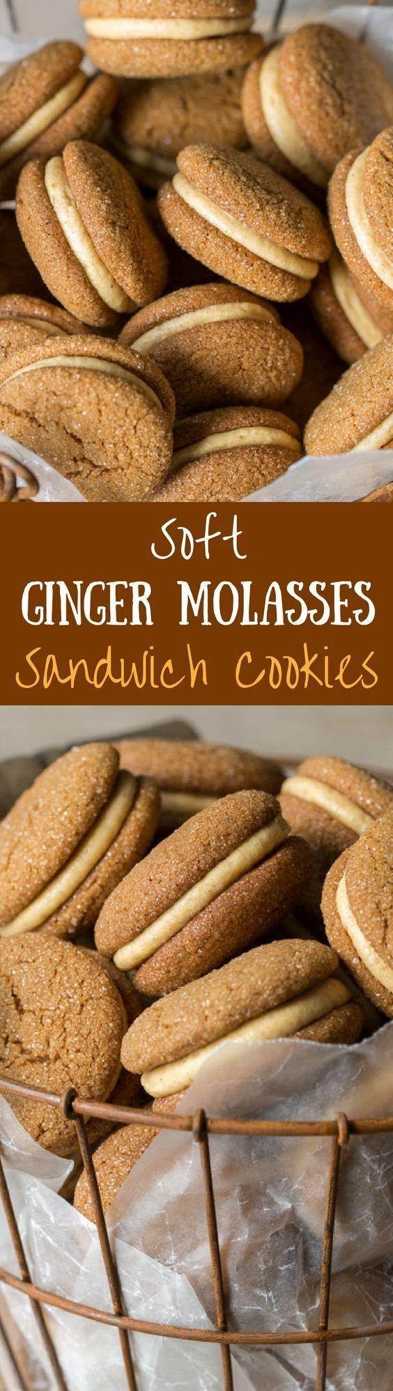 Soft Ginger Molasses Cookies with Pumpkin-Butter Buttercream   http://www.savingdessert.com