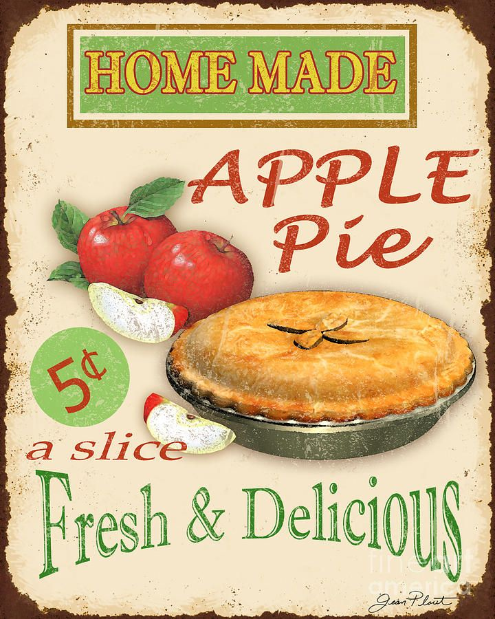 Vintage Apple Pie Sign Digital Art by Jean Plout