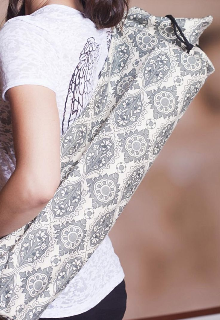 Gray Medallion Yoga Mat Bag www.downdogboutique.com  #YogaBags #YogaAccessories #Yoga