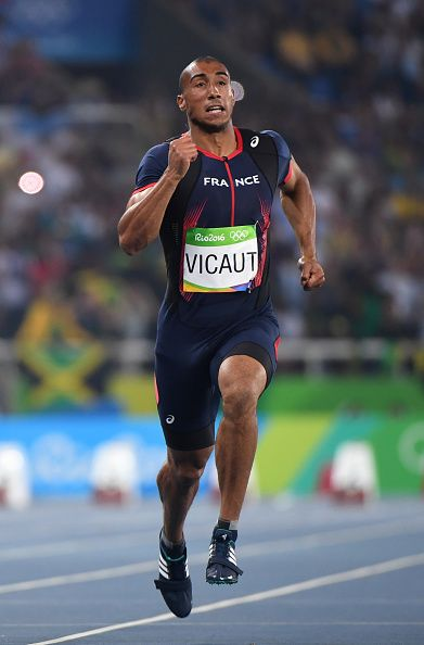France's Jimmy Vicaut competes in the Men's 100m Semifinal during the athletics…
