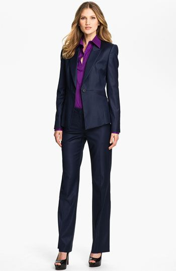 Boss Black Tulia Trousers and Jarina Jacket in Navy paired with a purple top - professional fashion | office style