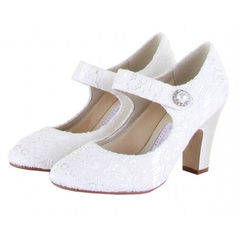 "Betty by Rainbow Couture for Rainbow Club Vintage Designer Ivory or White Lace Vintage Wedding or Occasion Shoes - A ""retro-modern"" Mary Jane style, looks like a nice and stable heel, cute style"