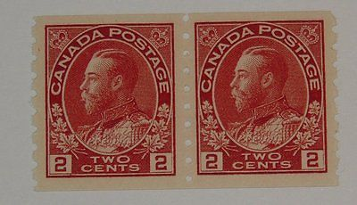 Stamp Pickers Canada 1912-24 KGV Admiral Coil Pair Scott #127 MNH VF $180+