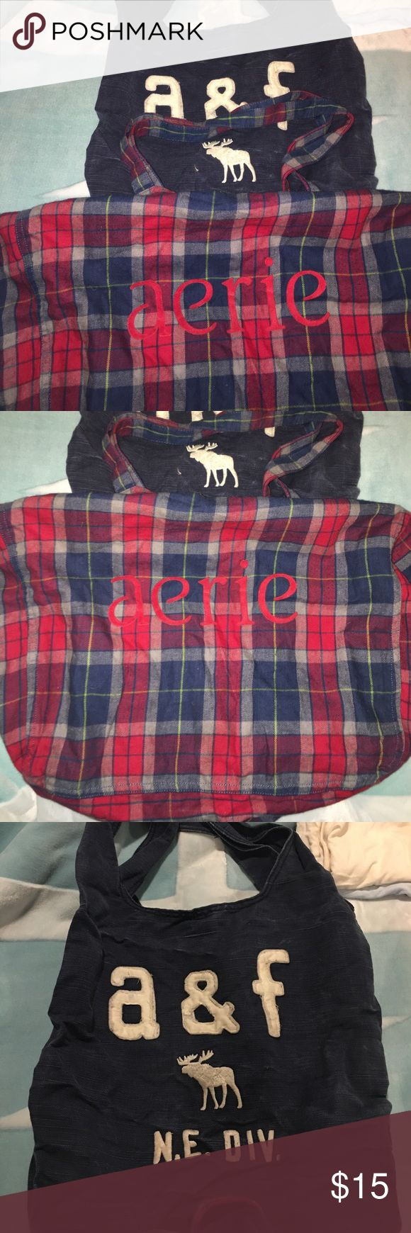 Aerie and a&f bags Great condition. Perfect for a quick over night bag or to carry school books. A&f bag is thick and durable. Aerie bag is thinner but a lot wider in size so it's perfect for clothes Abercrombie & Fitch Bags Travel Bags