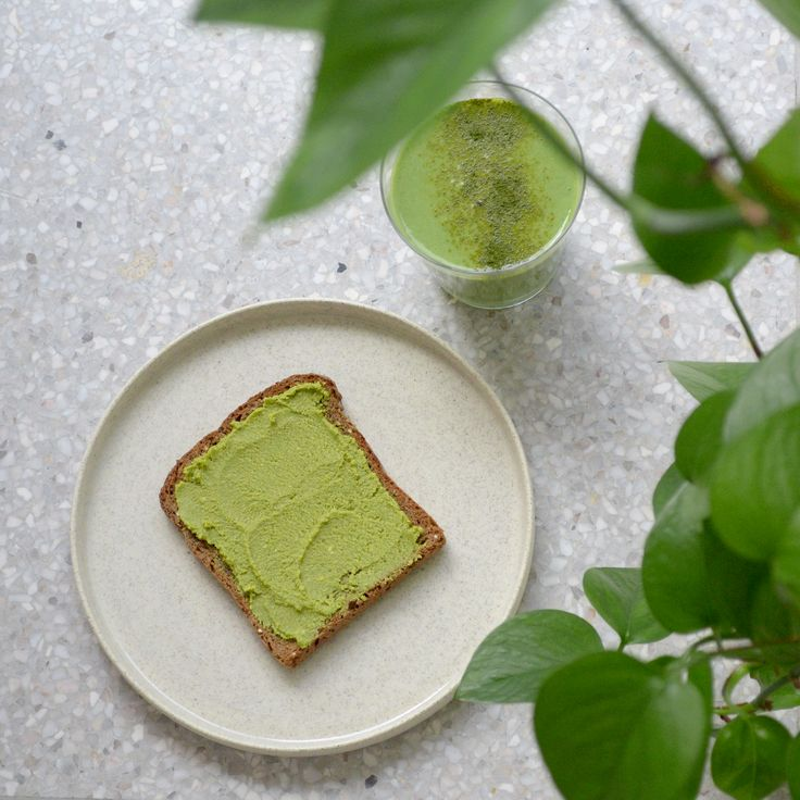 matcha nut butter spread on toast with green smoothie