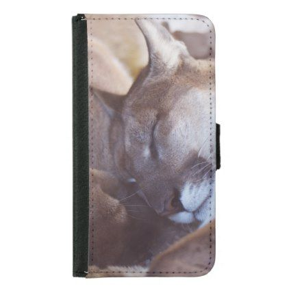 Mountain Lion Big Cat Cougar Animal Kitty Kitten Samsung Galaxy S5 Wallet Case - animal gift ideas animals and pets diy customize