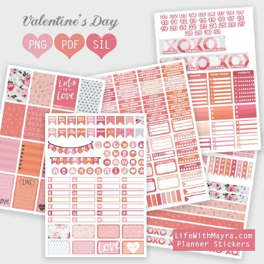 Free Printable Valentines 2017 Planner Stickers {PDF, PNG and Silhouette files} from lifewithmayra