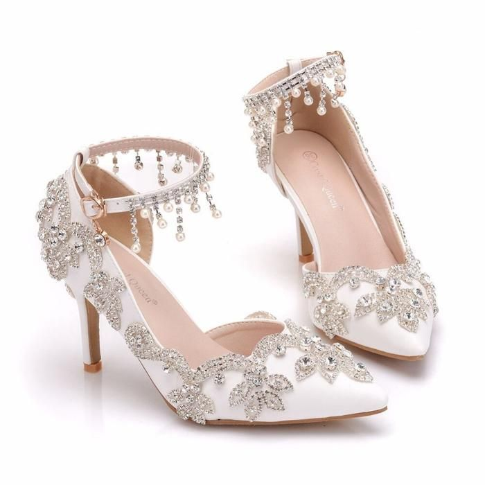 Fashion Pearl Pointed Toe Wedding Sandals Wedding Sandals Silver Sandals Heels Kitten Heel Wedding Sandals