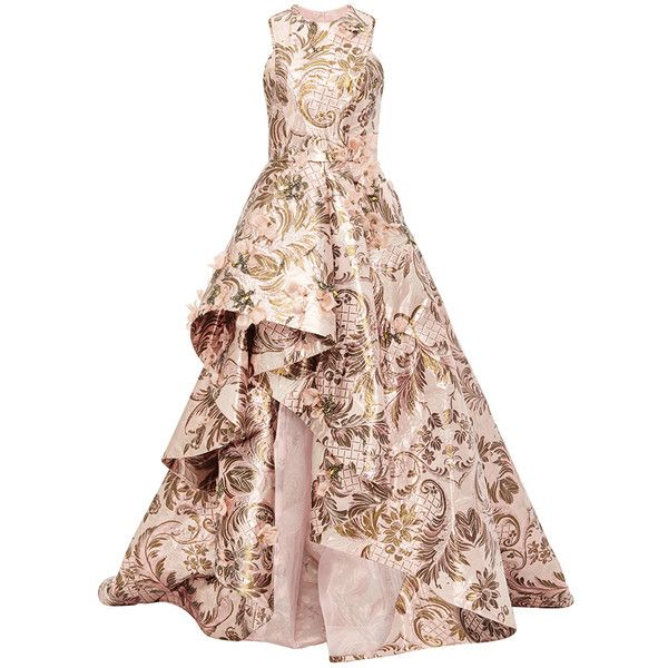 Monique Lhuillier High-Low Tapestry Gown found on Polyvore featuring dresses, gowns, long dress, monique lhuillier, floral evening gown, monique lhuillier gown, floral dress, pink dress and pink ball gown