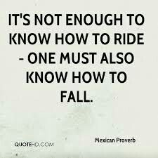 """It's not enough to know how to ride, one must also know how to fall."" ~Mexican Proverb ..*"