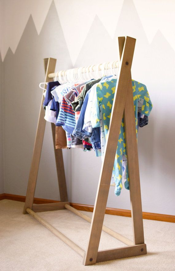 Clothing Rack Children's Clothing Rack Wood by BourbonMoth on Etsy