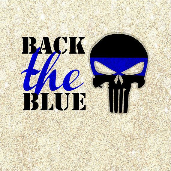 Punisher Skull back the blue police