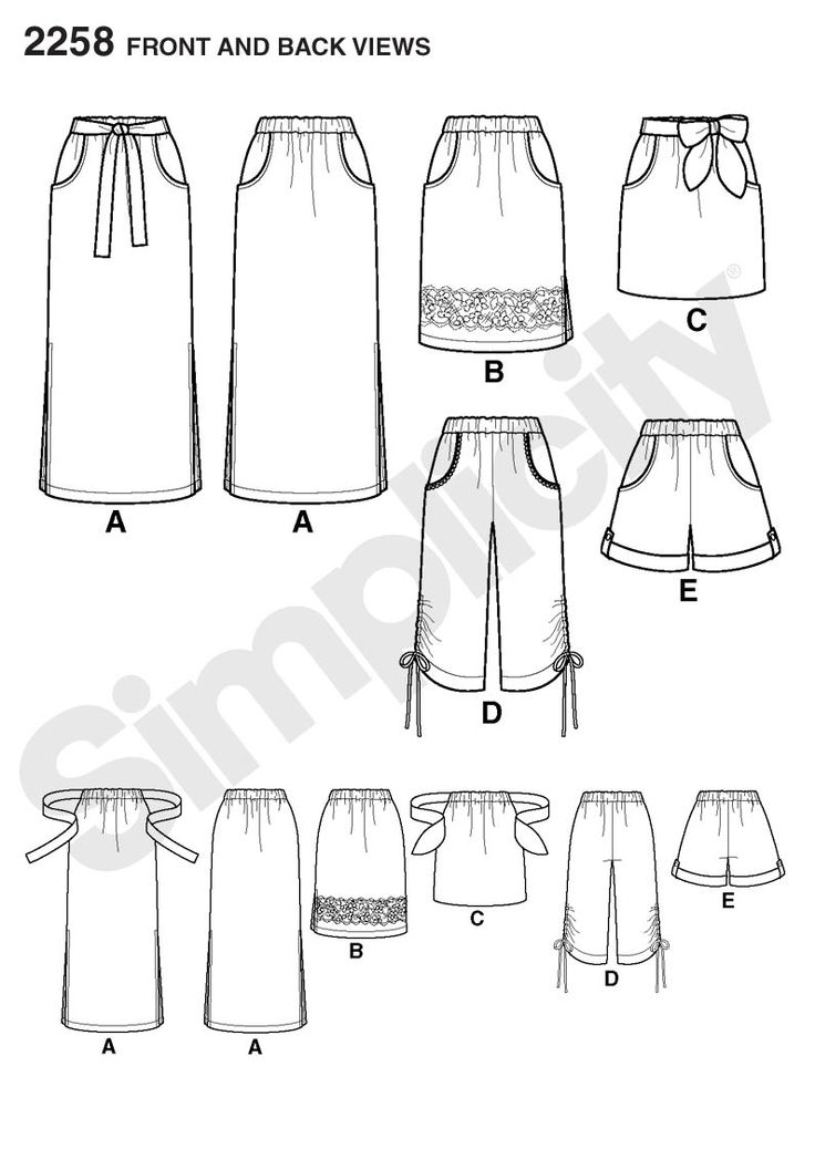 Simplicity pattern 2258: Misses' Easy to Sew Skirts & Shorts. Skirts & Pants sewing patterns.: