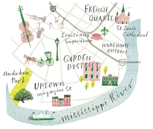 A small map for Brides (US). It's used for a monthly feature suggesting various wedding locations, and this month they picked New Orleans. I have been there a long time ago and it was a very interesting place with French influence, jazz, and special food.  アメリカのブライダル雑誌に小さな地図を作りました。挙式場所としてニューオリンズを紹介する特集です。ニューオリンズにはかなり前に一度行ったことがありますが、南部独特の雰囲気がとても印象的な場所でした!