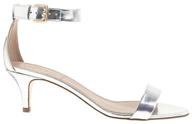 Mirror metallic kitten-heel sandals // inexpensive bridal shoes low heel heels silver wedding