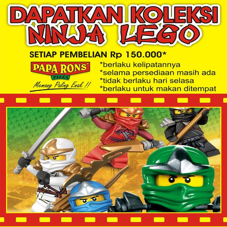 Promo action figure lego bulan Juli 2014 dapatkan mainan lego ninja untuk pembelian minimal 150.000 dine-in ( promo tidak berlaku di hari selasa)