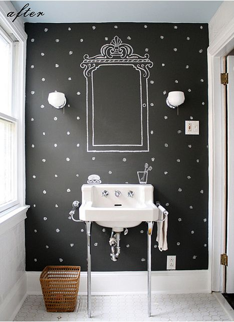 polka dot walled bathroom. How adorable to have the stenciled frame around your mirror! cute!