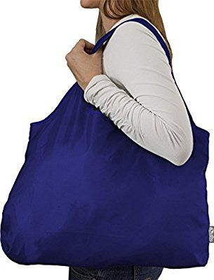 Premium Easy Foldable Large Blue Grocery Tote Bag and a 4 Piece Reusable Ice Packs Combo