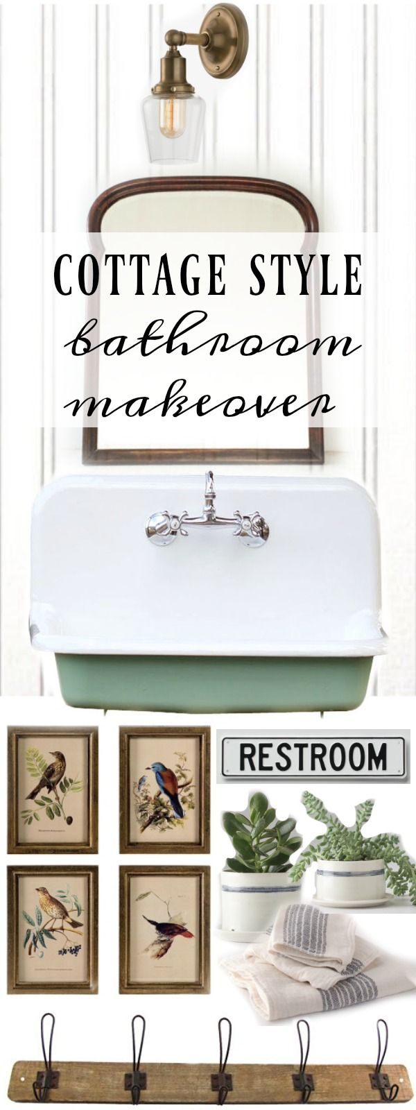 Cottage Style Bathroom Makeover Ideas - mood boards were created, using ideas for lighting, fixtures and decor - they give you an idea of what your space will look like - via Liz Marie Blog