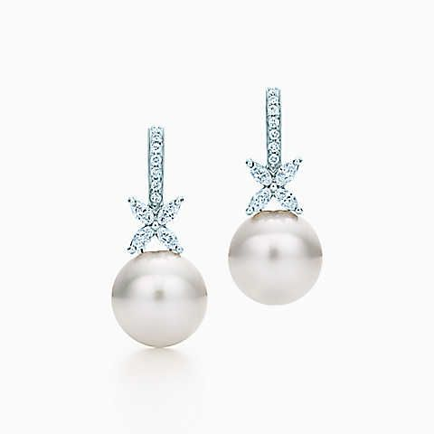 Tiffany Victoria® earrings in platinum with South Sea pearls and diamonds.