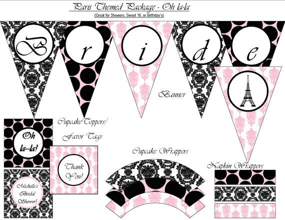 50 off  Paris Themed Party  Printable Package by ZDesignsbyRosina, $7.50
