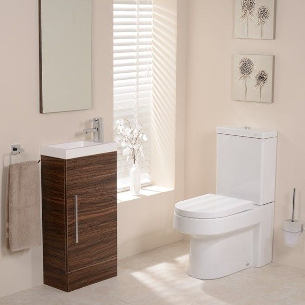 Best Photo Gallery Websites The Walnut Aspen White Cloakroom furniture pack features a Modena Toilet and Seat plus a contemporary Walnut Vanity Unit with single door cupboard and