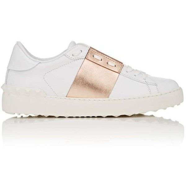 """Valentino Women's \""""Open\"""" Leather Sneakers (£525) ❤ liked on Polyvore featuring shoes, sneakers, zapatillas, zapatos, laced up shoes, rose shoes, leather lace up shoes, leather shoes and wide sneakers"""