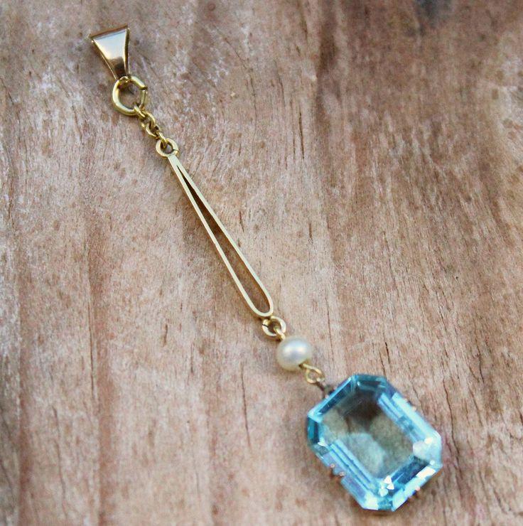 Antique 9ct Pendant Blue Topaz Pearl Fine Jewellery Edwardian Gold 9 Carat Necklace Vintage Gold Pendant Topaz Jewellery Antique Jewelry by KittysVintageKitsch on Etsy