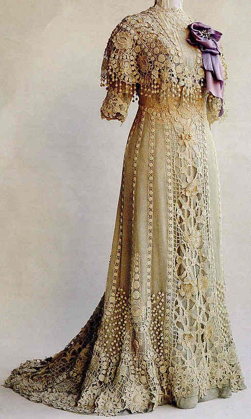 "This beautiful Irish crocheted dress was worn by Anna Vidal I Sola de Rocamora at the turn of the 20th Century. The photo comes from Annie Potter's book, ""A Living Mystery, the International Art & History of Crochet"" and is courtesy of the Museo Textil y de Indumentaria, Spain."
