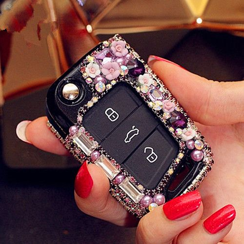 Bling Car Key Holder with Rhinestones for VW Golf GTI Scoda Touran - Purple