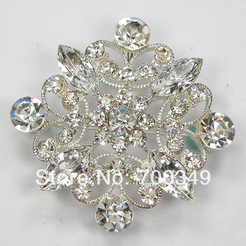 Посеребрение 12 piece/lot прозрачный кристалл горный хрусталь невесты свадьба ну вечеринку пром цветок булавка брошь и кулон C696 макияж-1