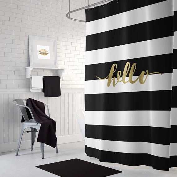 Black And Gold Shower Curtain Striped Shower Curtain Black