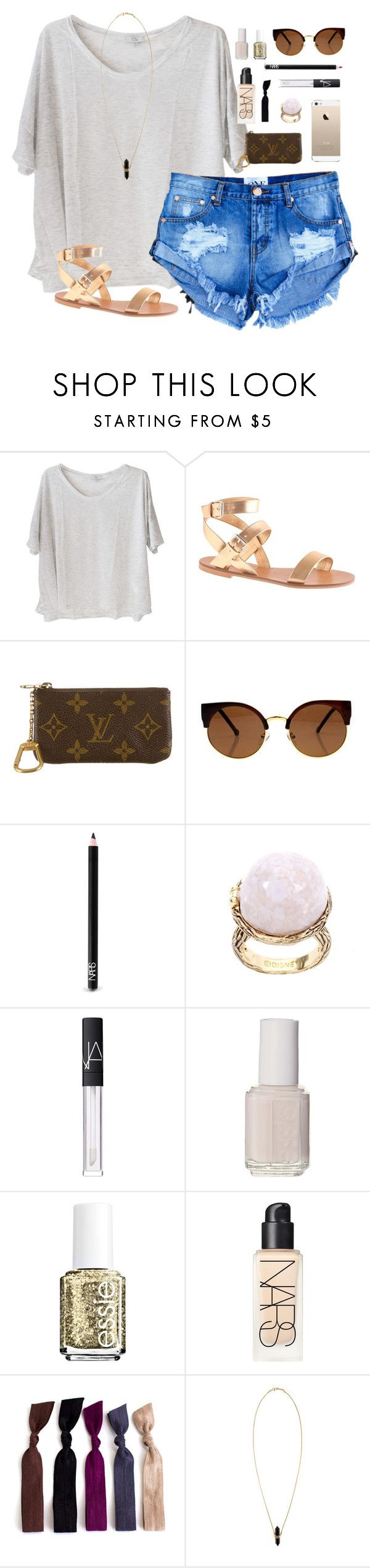 """""""75 and sunny"""" by classically-preppy ❤ liked on Polyvore featuring Clu, J.Crew, Louis Vuitton, NARS Cosmetics, Disney Couture, Essie and Isabel Marant"""